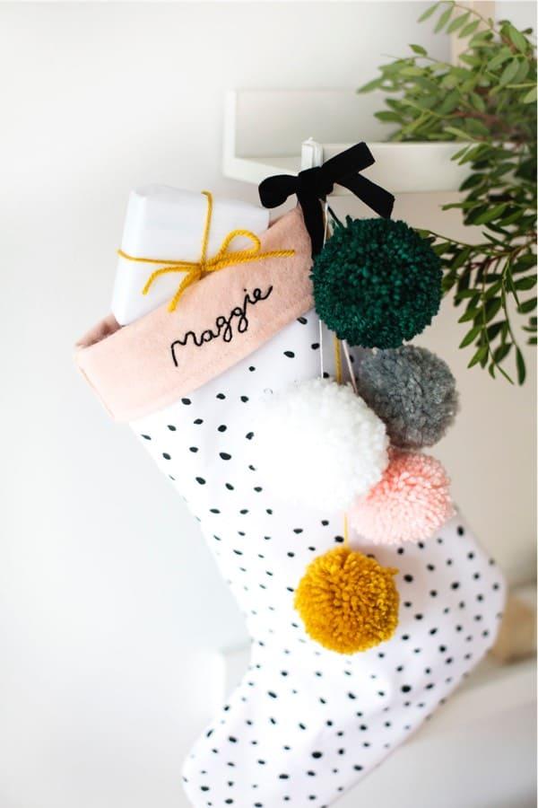 do it yourself stocking with pom poms
