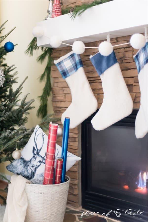 blue and white no sew xmas stockings