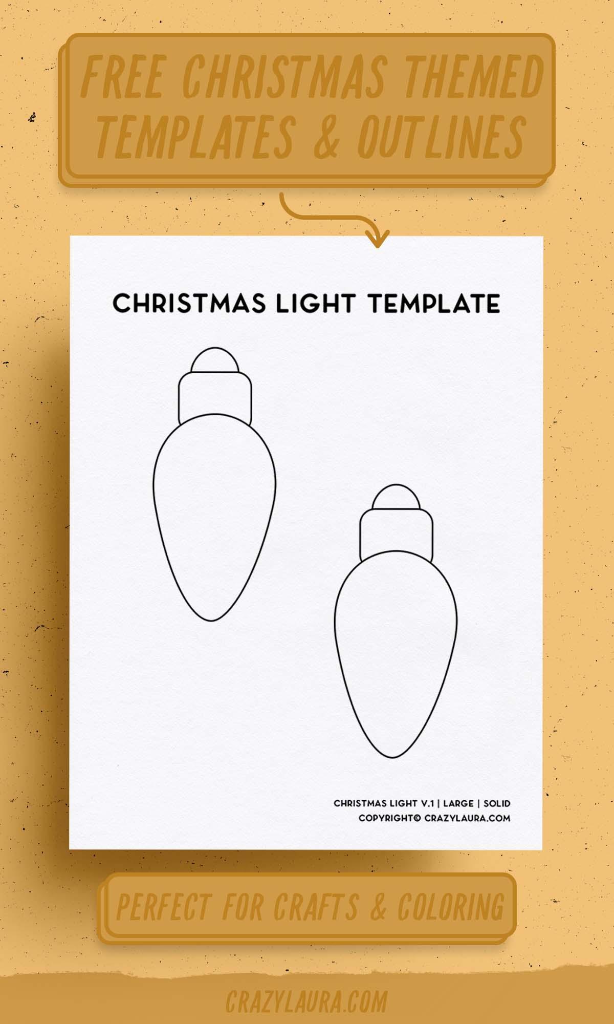 xmas light outline stencil free pdf