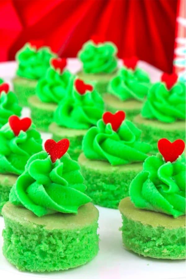 mini grinch themed cake bites for christmas