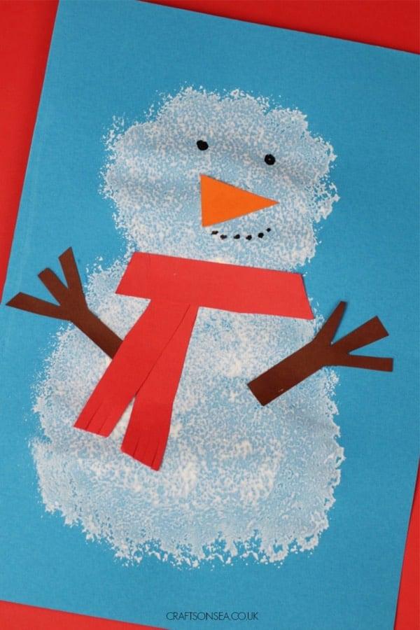 easy snowman art project for winter break
