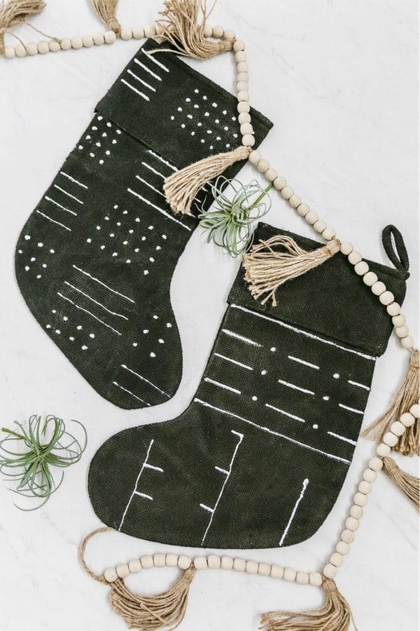 simple mudcloth no sew xmas stocking tutorial