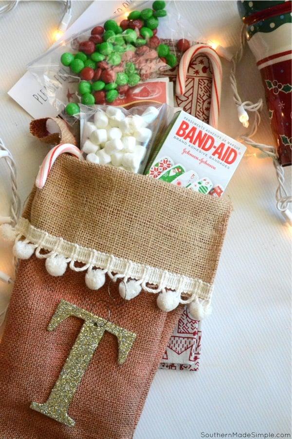 easy burlap stocking no sew