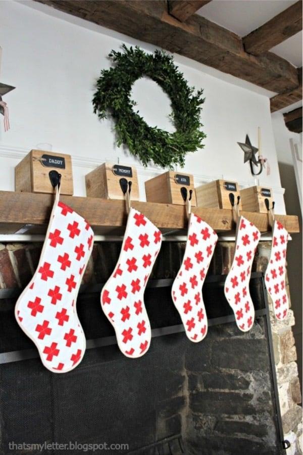 homemade swiss cross christmas stocking idea