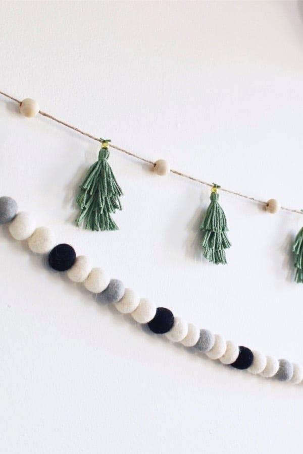christmas garland idea with tassels