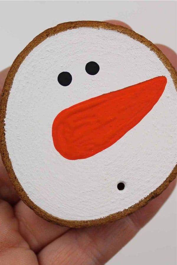 wood slice snowman ornament kids project