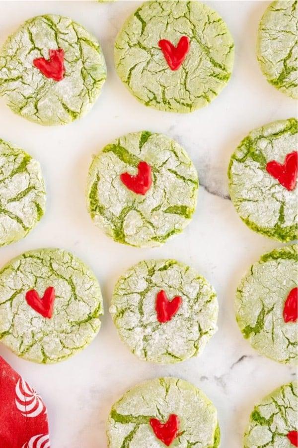 christmas grinch crinkle cookies