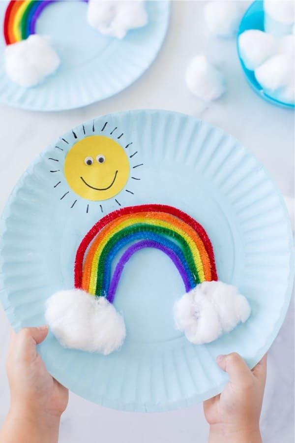 rainbow paper plate craft idea