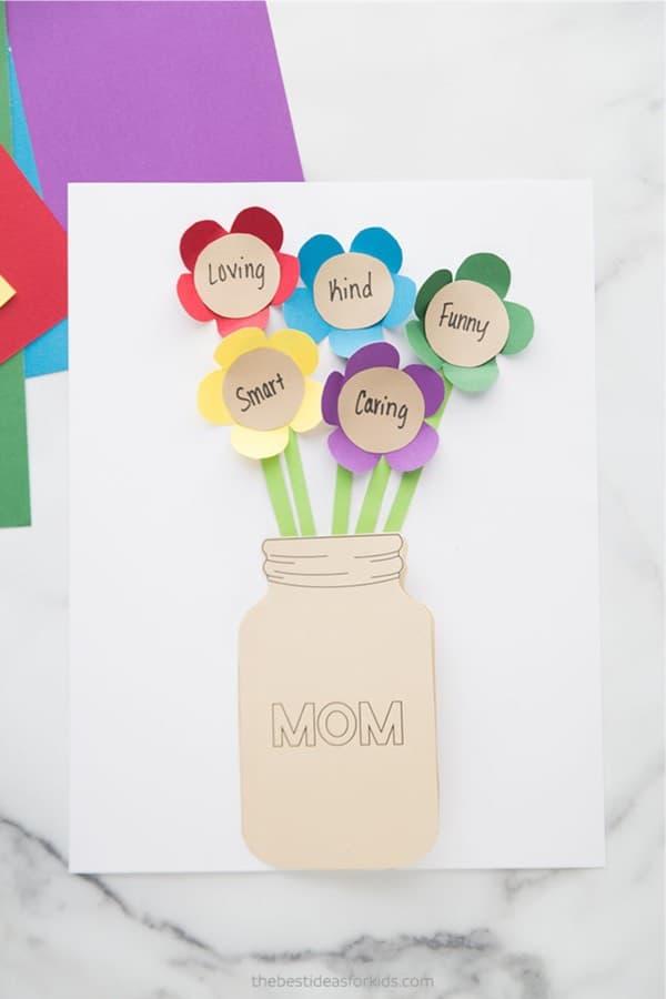 paper flower kid craft for spring