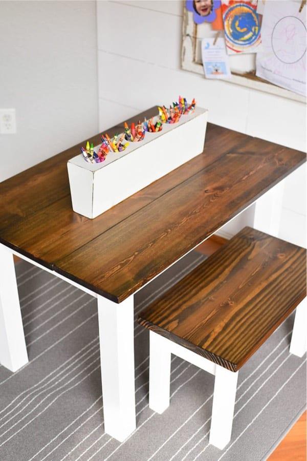 farmhouse wooden kids table