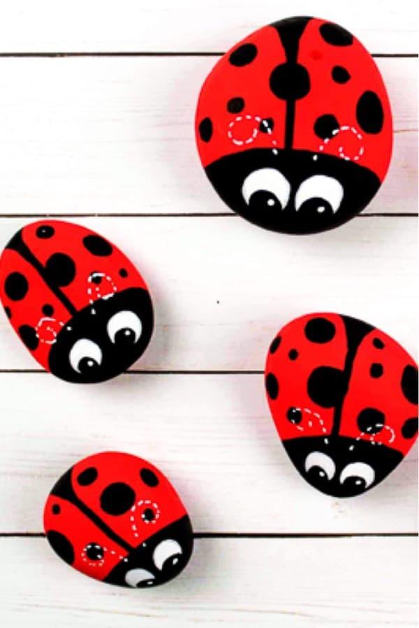 ladybud painted rocks for kids