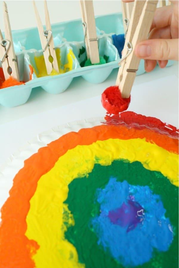 painted rainbow kids craft