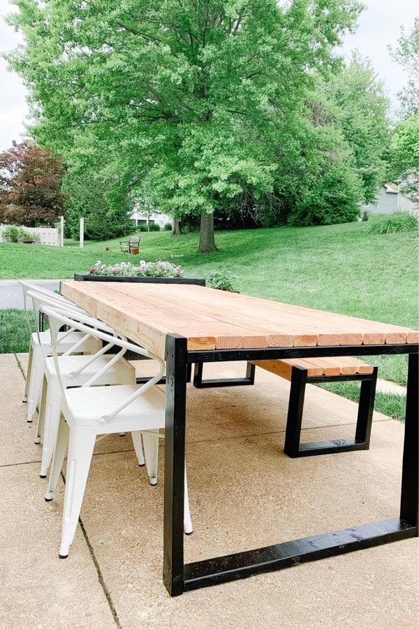 wood and metal diy table