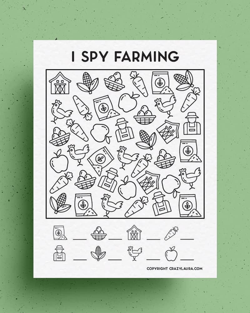 easy to print i spy farming