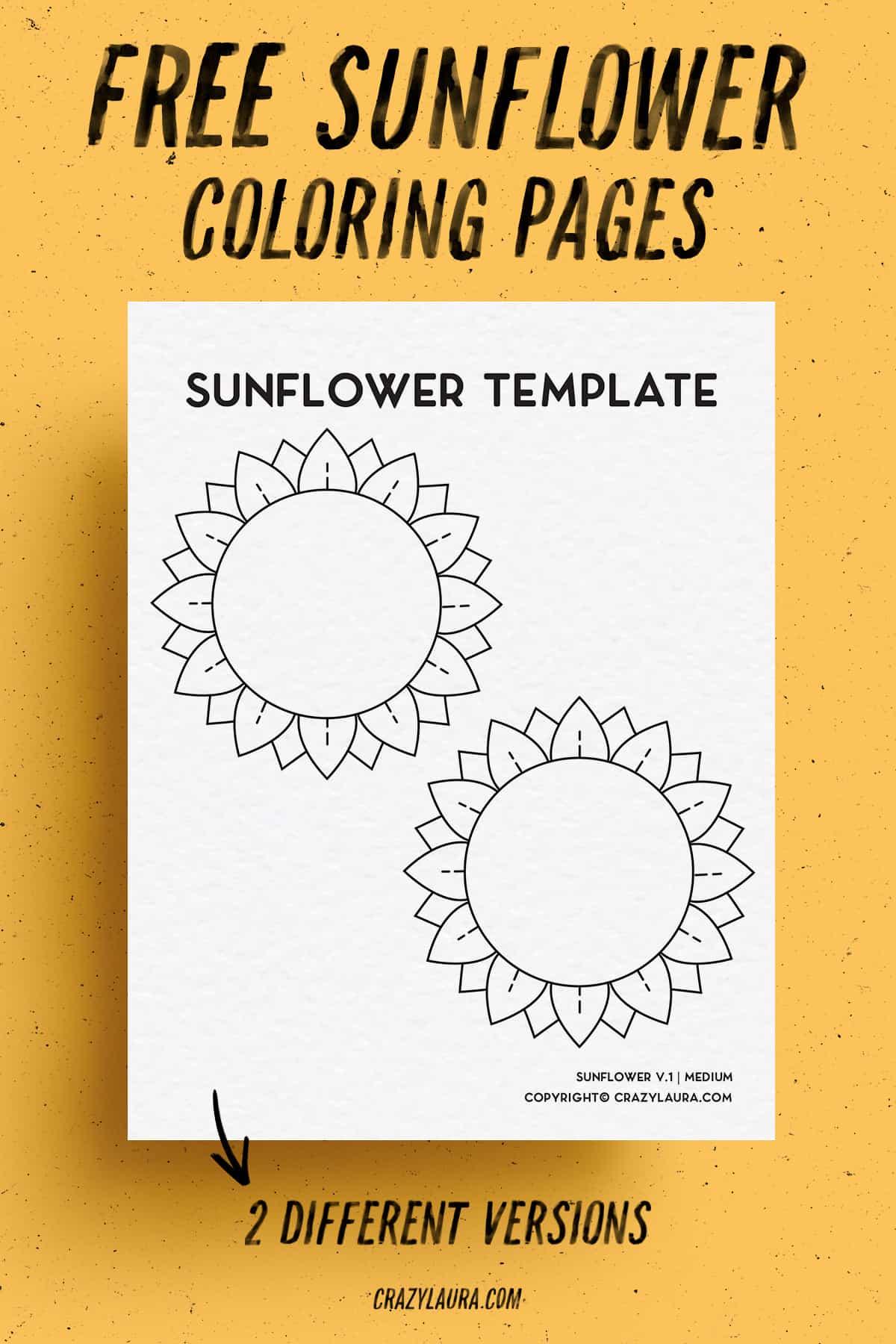 free kids sunflower activity