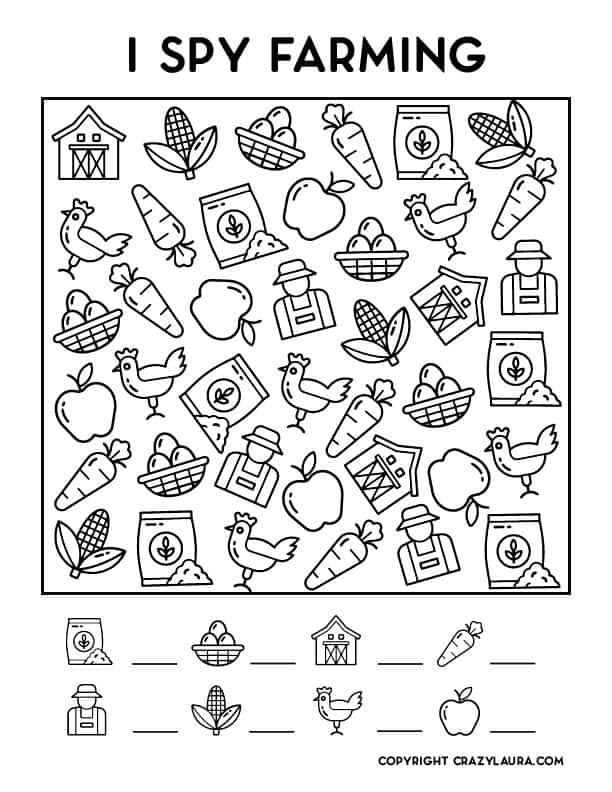 simple i spy farm template