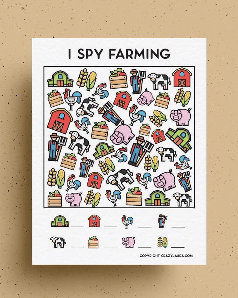 color farm animal i spy sheets