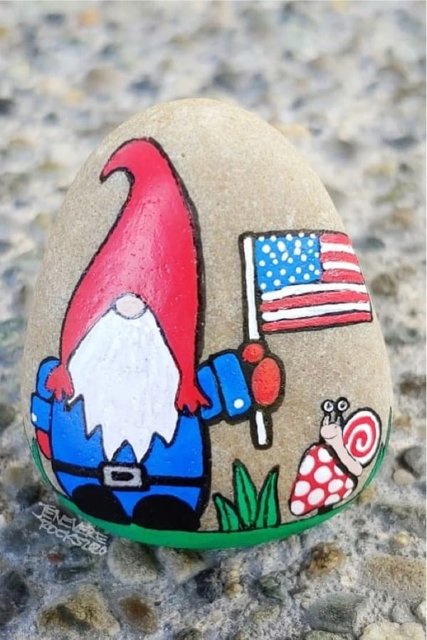 cute painted rock for july fourth
