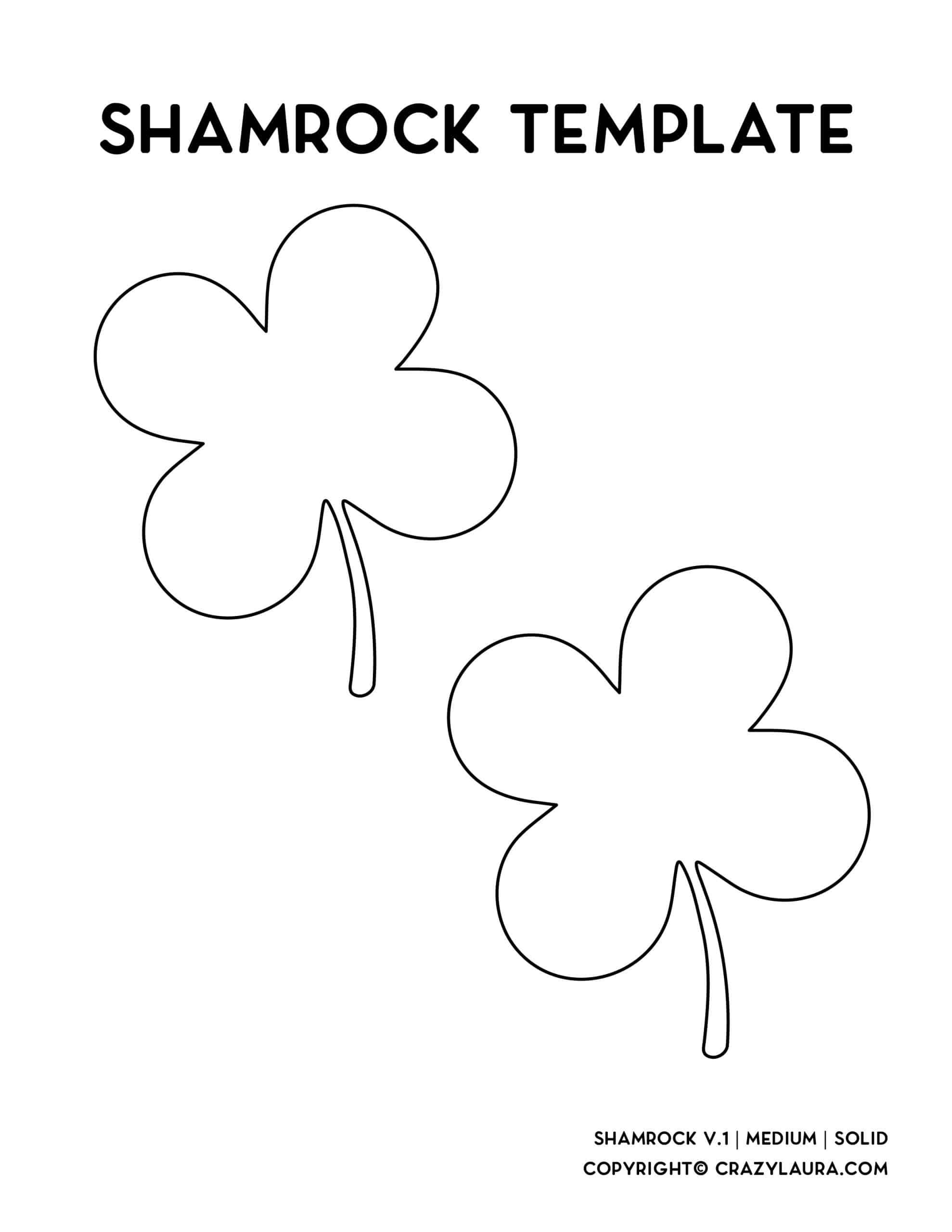 medium size four leaf clover print sheet