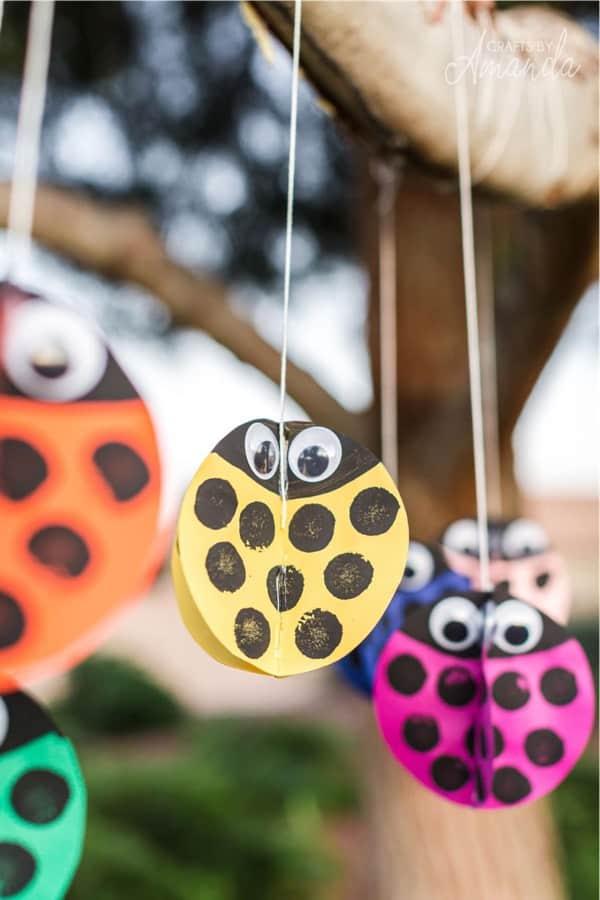 colorful paper ladybud craft