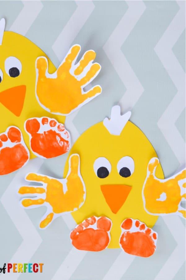 spring handprint chick craft