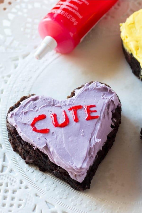 heart shaped conversation brownies