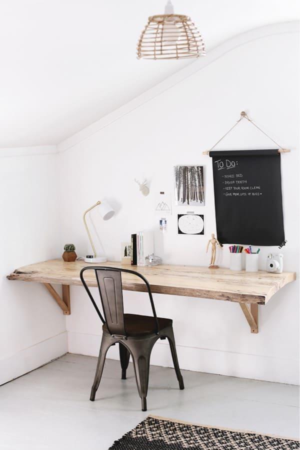 homemade desk with live edge wood slab