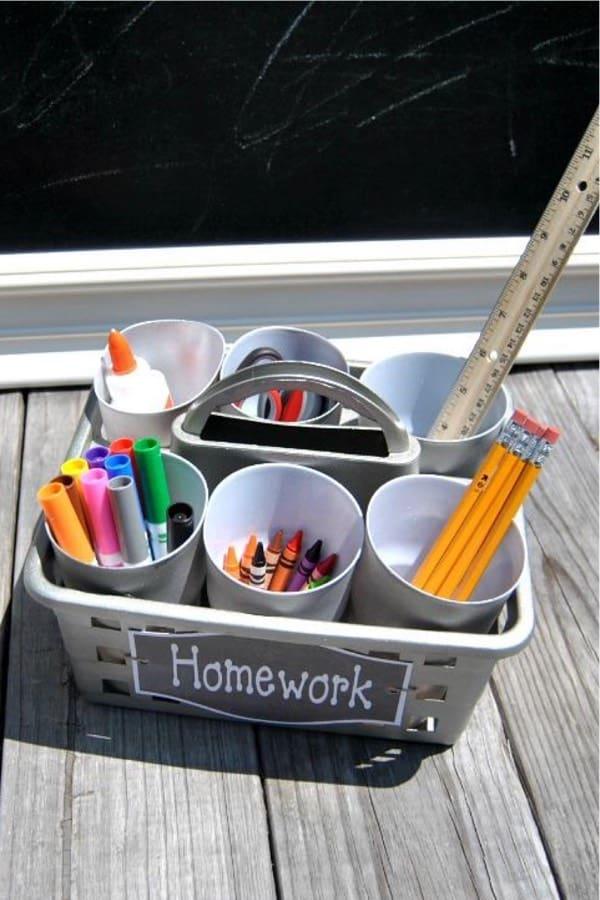school supplies diy storage bin craft