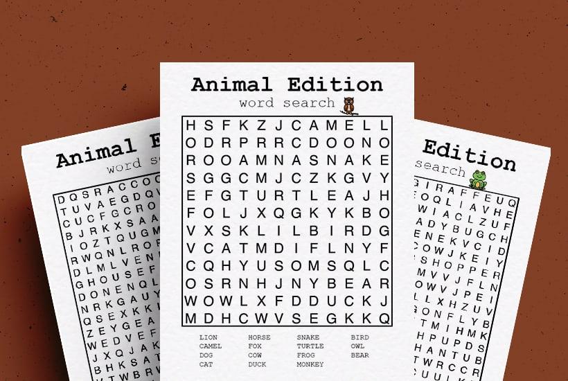 Free Animal Word Search Printable PDF Game Sheets