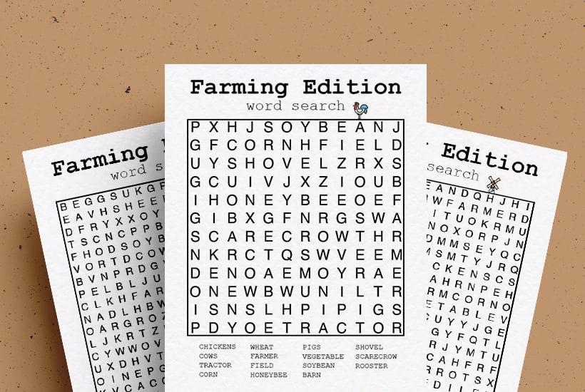 Free Farming Word Search Printable Game Sheets