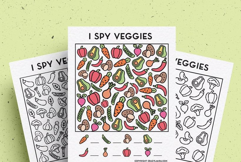 Free I Spy Veggies Printable Game For Kids In 2021