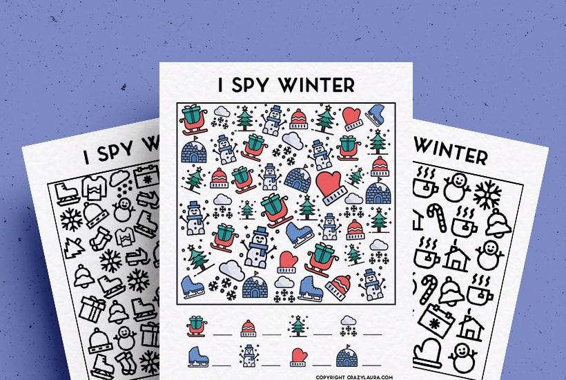 Free Winter I Spy Printable Game PDF Sheets For Kids