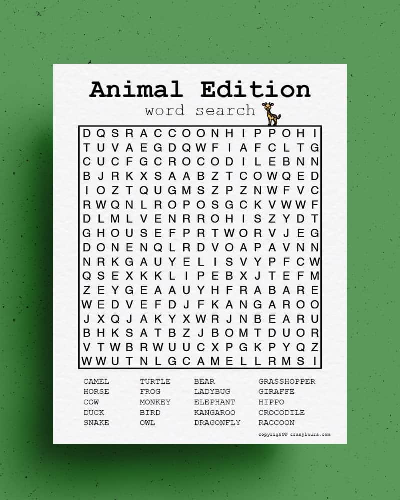 animal themed kids learning printable