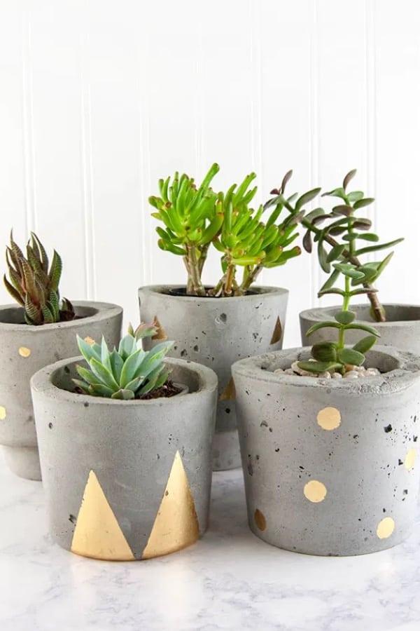 diy pots for plants with concrete