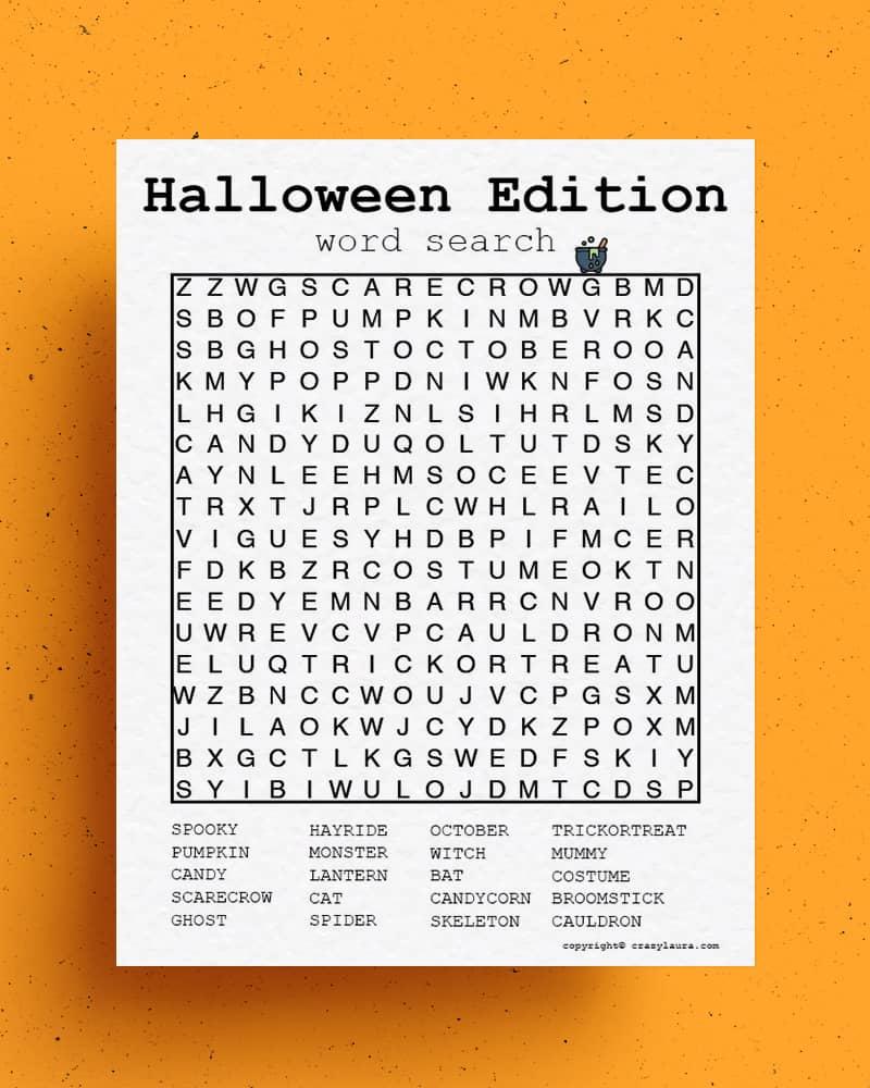 fun and free halloween word hunt