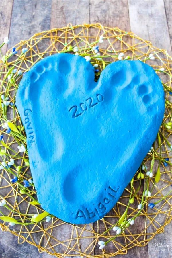 footprint keepsake with diy salt dough