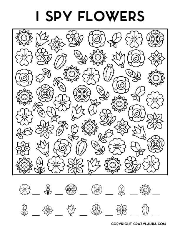 free kids I spy flower game sheets