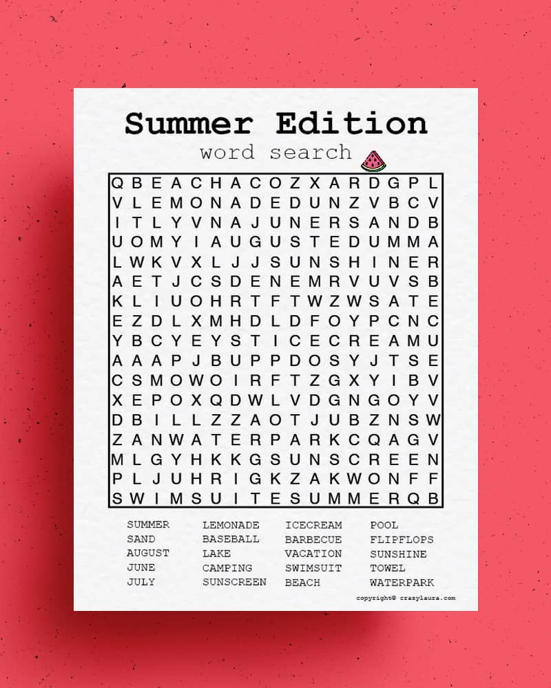 free word search game for summer