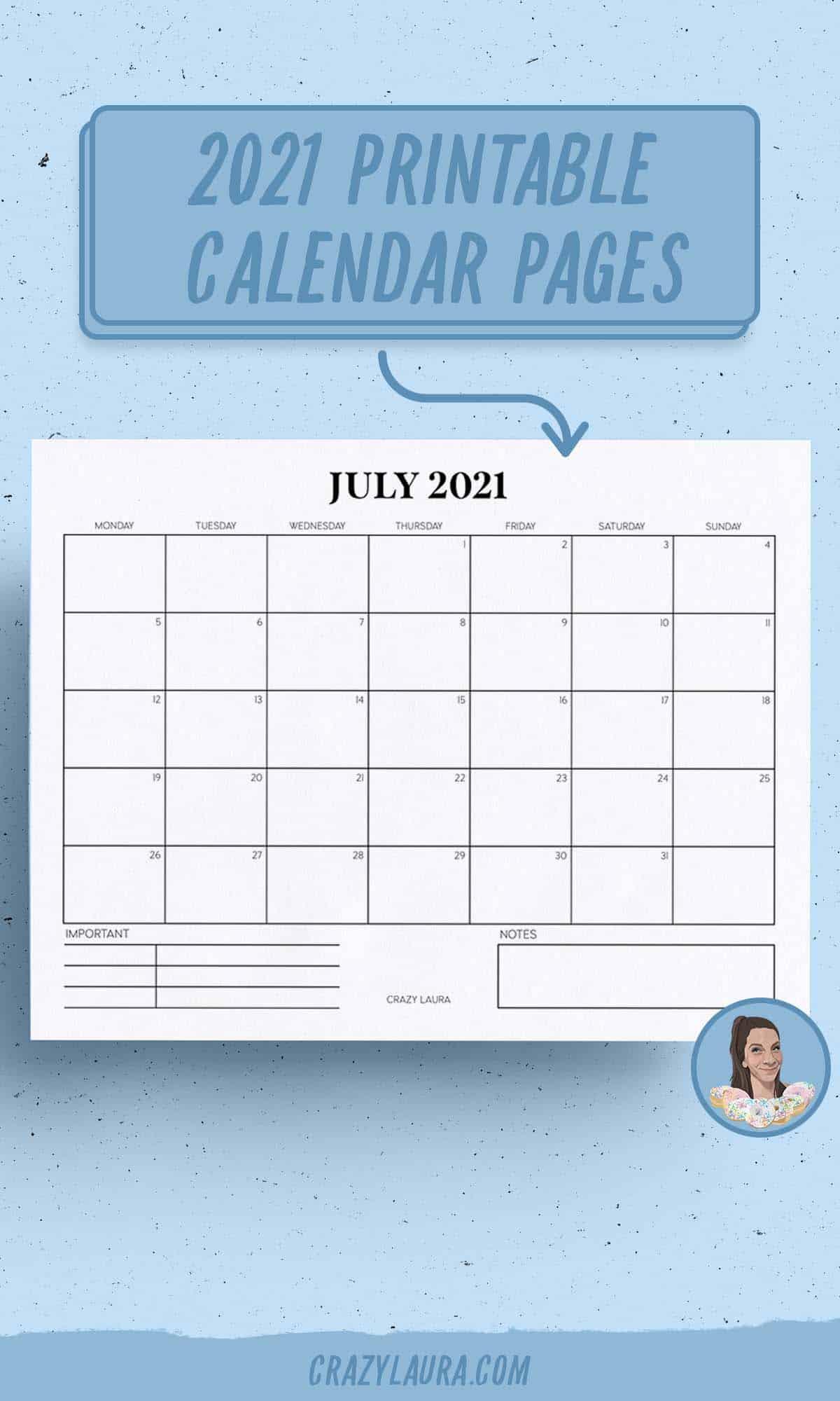 free printable horizontal calendar