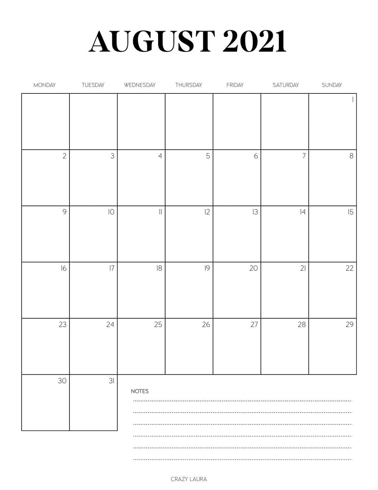 free august vertical calendar