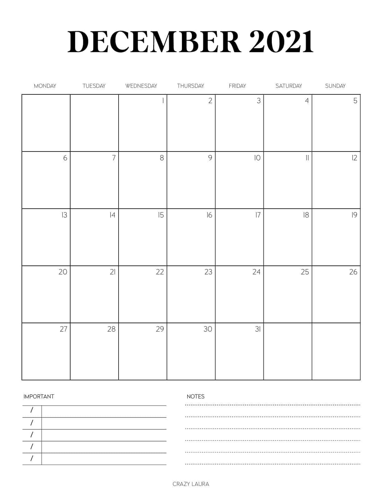 december calendar pdf printable page