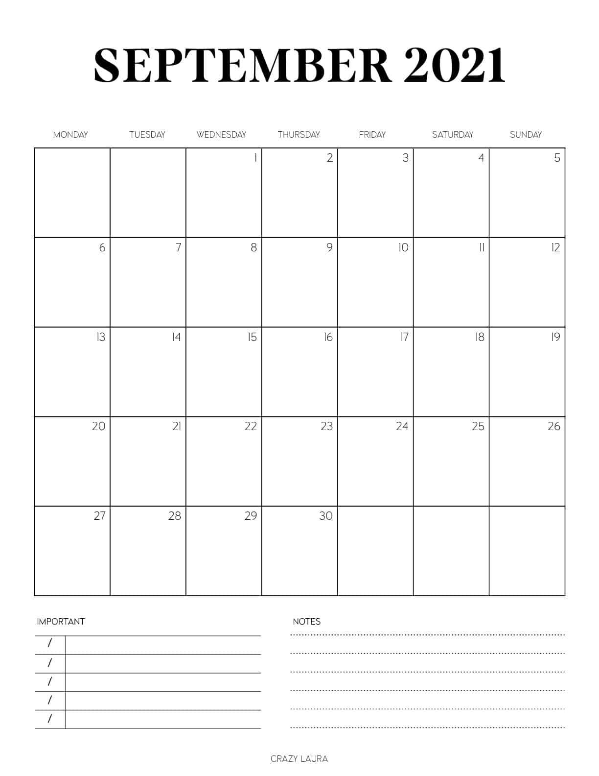 sept 2021 calendar to print off