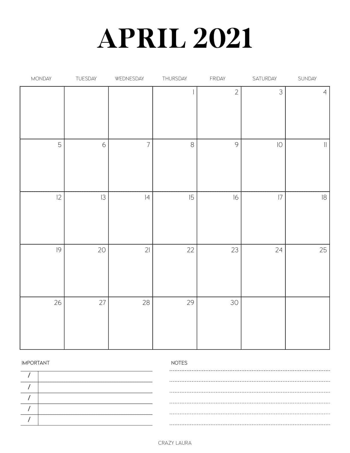 minimalist april vertical calendar
