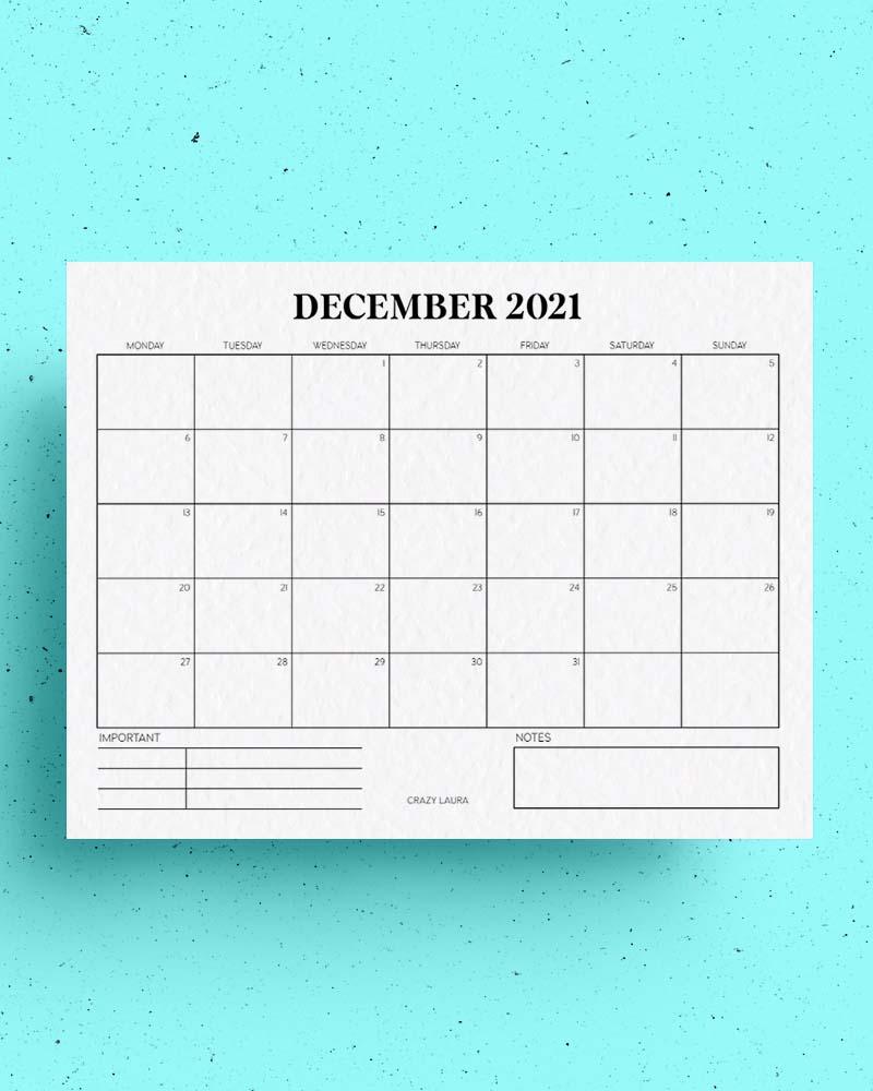 free blank 2021 calendar template