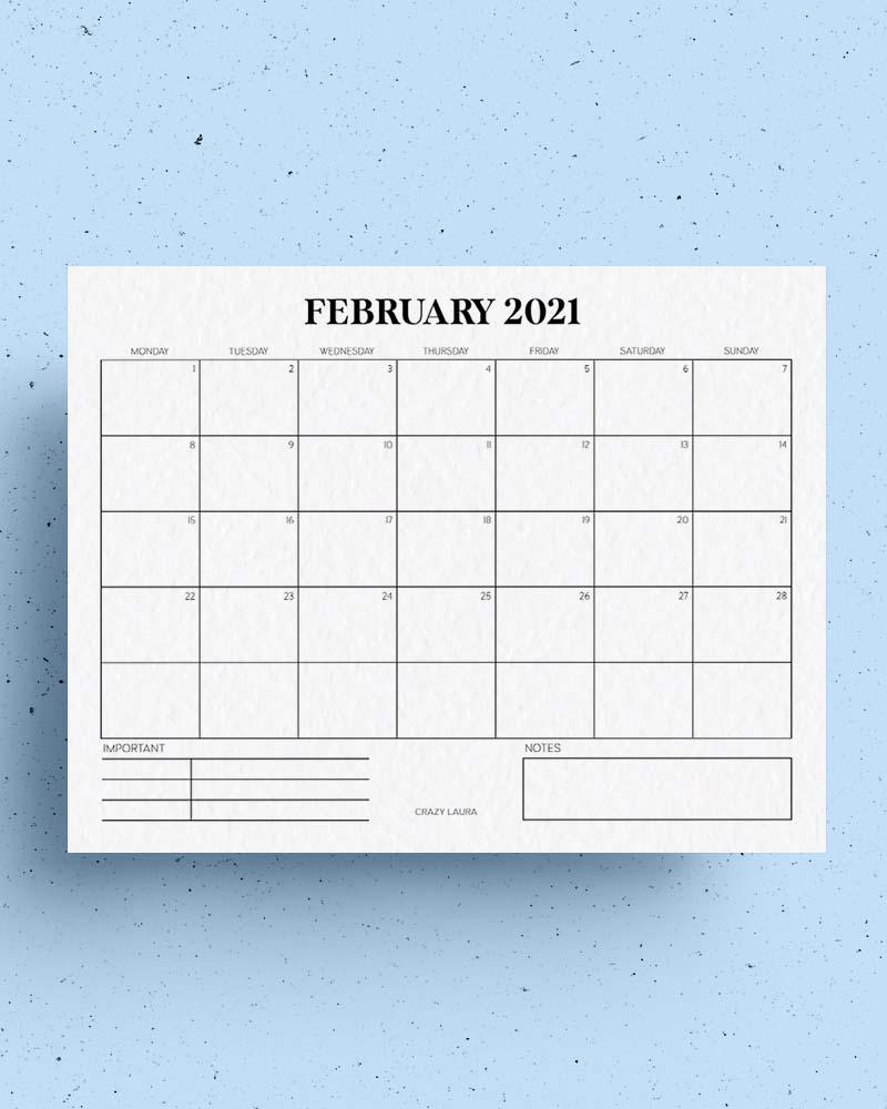 free horizontal calendar printable