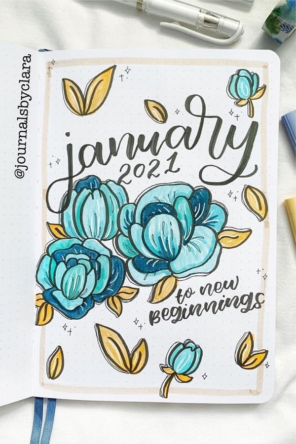 creative ideas for flower theme bujo cover