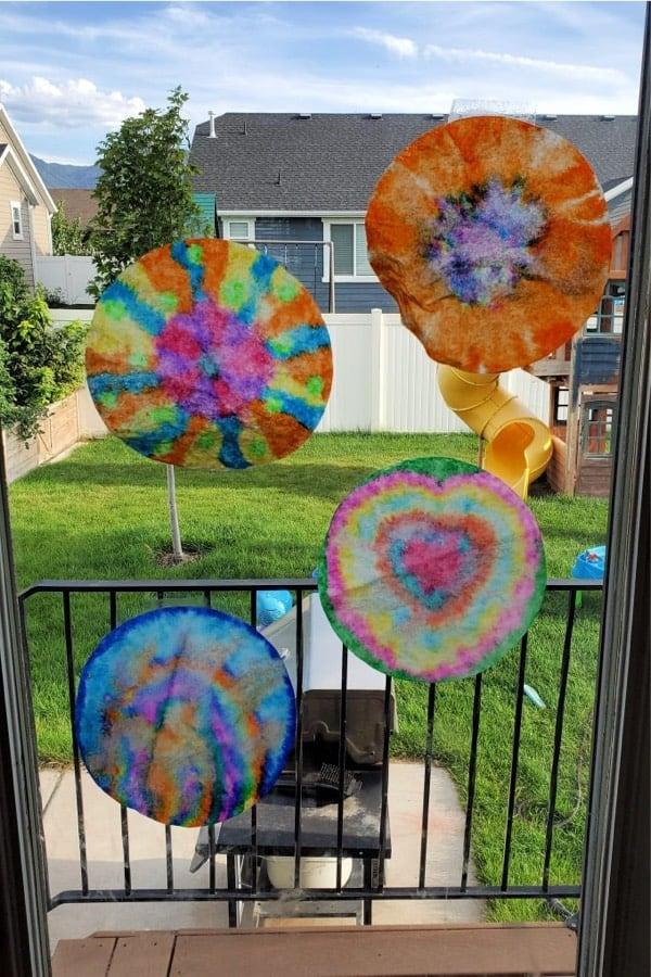 coffee filter craft for sliding glass door