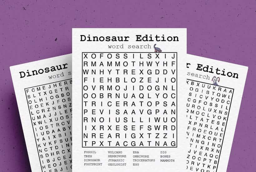 Free Dinosaur Word Search Printable Game Sheets