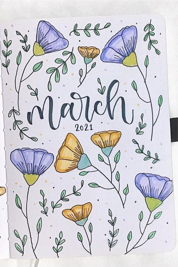 march monthly cover with flowers and greenery