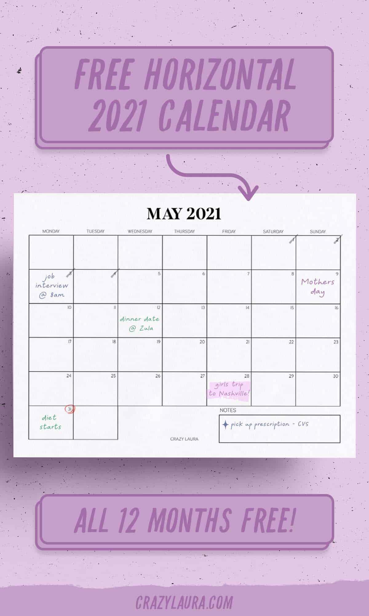 simple 2021 calendar tracker